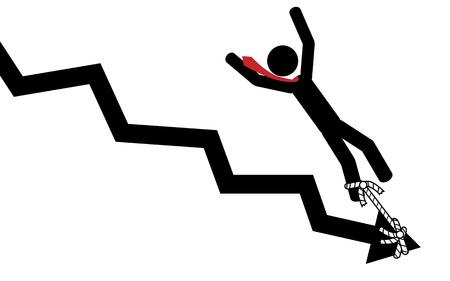 Vector   illustration  Graphic arrow pulls down businessman  Ilustração