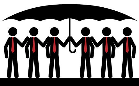 Vector   illustration  Six men with red tie are sitting under umbrella  Vector