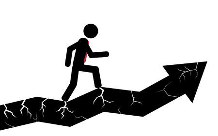 Vector   illustration  A man is walking on a broken arrow