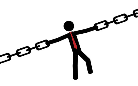 Vector   illustration A man is holding with his hands a chain