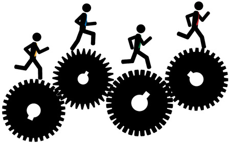 Vector   illustration The men are running on gears