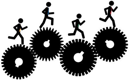 Vektor-Illustration Die Männer auf Zahnräder laufen Vektorgrafik