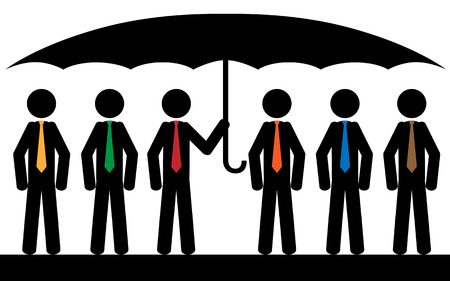 Vector   illustration  Six men with color tie are sitting under umbrella  Vector