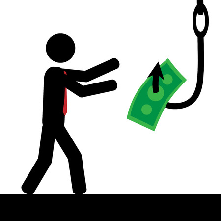 Vector   illustration A man is tricked to take money from hook