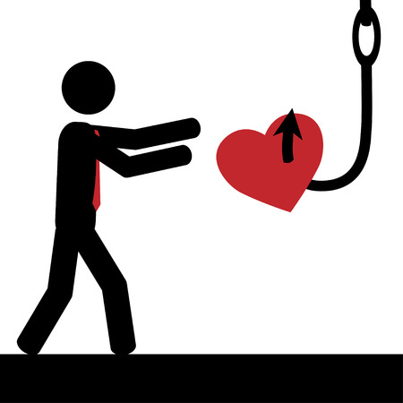 Vector   illustration A man is tricked to take heart from hook