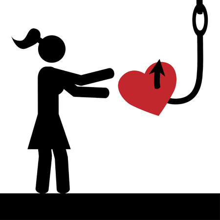 Vector   illustration A girl is tricked to take heart from hook  Ilustração