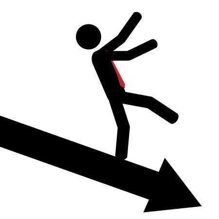 Vector   illustration  Man slip down on arrow
