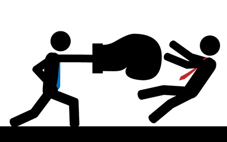 Vector   illustration  A man is hitting his boss with a boxing glove  Vector