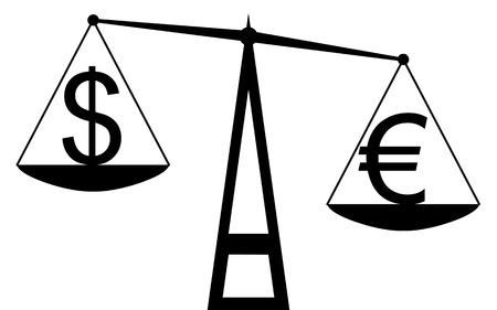 Vector   illustration  Balance that compare the euro with dollar, and the euro is the winner