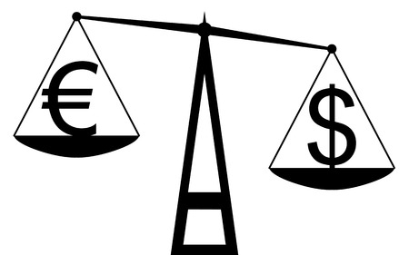 Vector   illustration  Balance that compare the euro with dollar, and the dollar is the winner