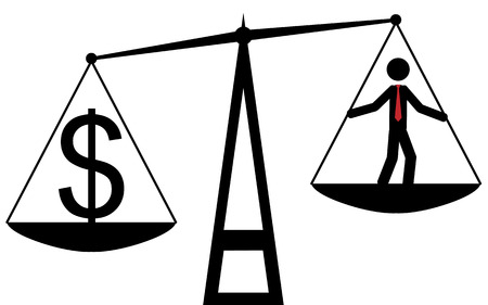 Vector   illustration  Balance that compare the man with dollar, and the dollar is the winner