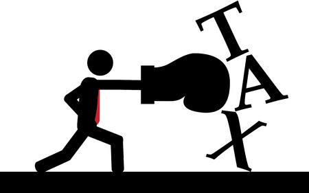 Vector   illustration  A man is boxing the taxes