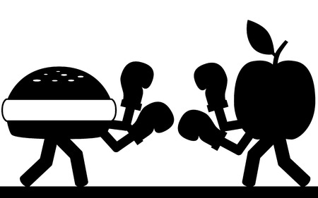 unhealthy food: Vector   illustration Fight between a hamburger and a apple  Illustration