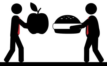 Vector   illustration  Two men present their favorite food  Vector