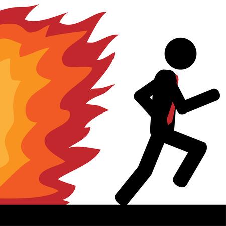 Vector   illustration  A man is running from fire  Ilustração