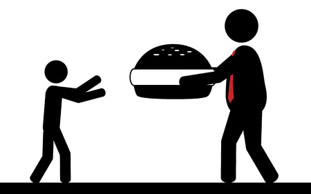 Vector   illustration  A man is giving a hamburger to a child