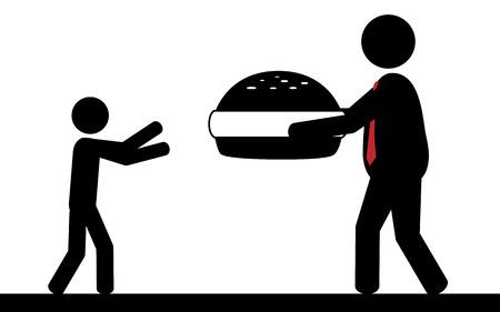 d�vorer: Vector illustration Un homme donne un hamburger � un enfant