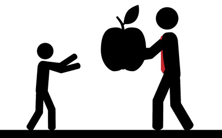 Vector   illustration  A man is giving a apple to a child