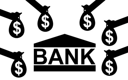 Vector   illustration  The bank is receiving money from everyone  Ilustração