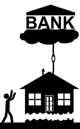 Vector   illustration  The bank lifts the house of a man