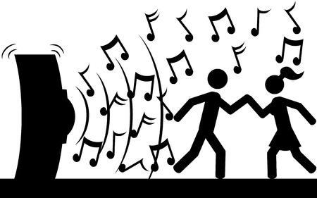 Vector   illustration  A couple is dancing on music  Ilustração