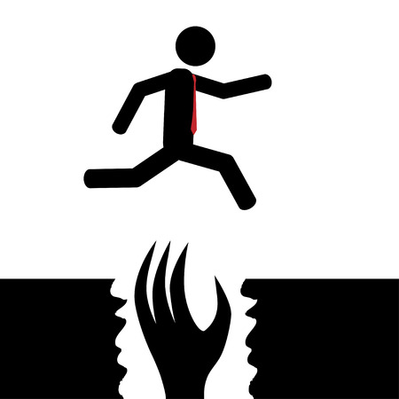cliff edge: Vector   illustration  The man jumps over a monster
