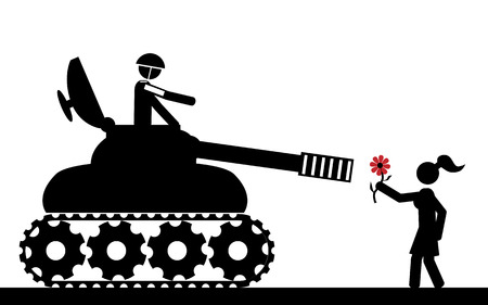 Vector   illustration  The tank aims the girl that is holding a flower