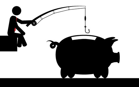 Vector   illustration of a man that is fishing for money in a piggy bank  Vector