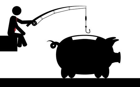 Vector   illustration of a man that is fishing for money in a piggy bank  Ilustração