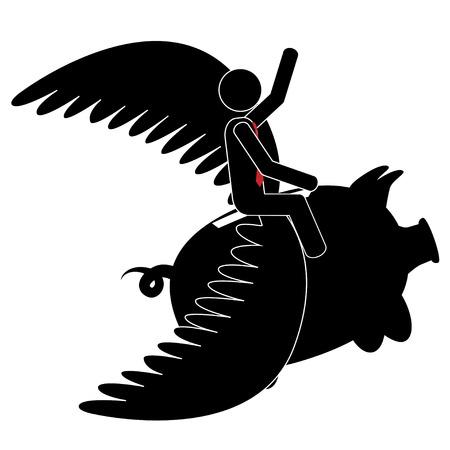 Vector   illustration of a man that is on a flying piggy bank  Ilustração