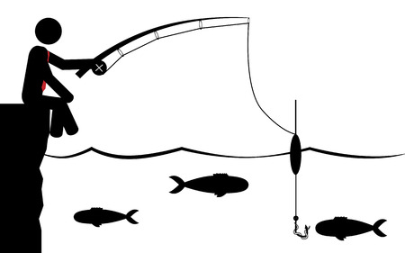 Vector   illustration of a man that is fishing in the water