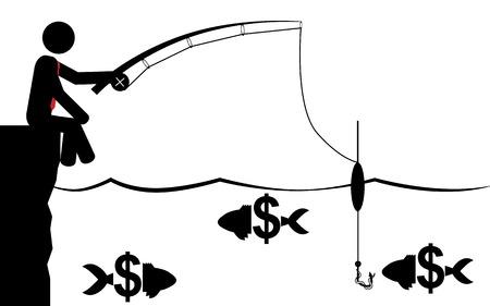 Vector   illustration of a man that is fishing for money  Ilustração