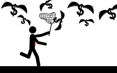 Vector   illustration of a man that is trying to catch flying dollars  Vector