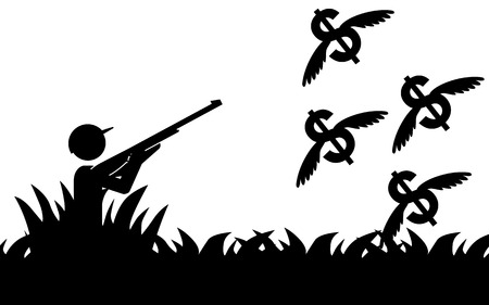 Vector   illustration of a man that is hunting flying dollars  Vector