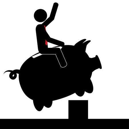 Vector   illustration of a man that is on a piggy bank