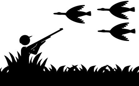 Vector   illustration of a man that is hunting birds