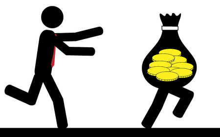 Vector   illustration of a man that is running to catch a bag of money Imagens - 29348318