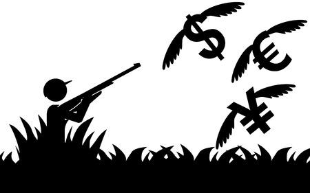 flying money: Ilustraci�n vectorial de un hombre que es la caza de dinero volando Vectores