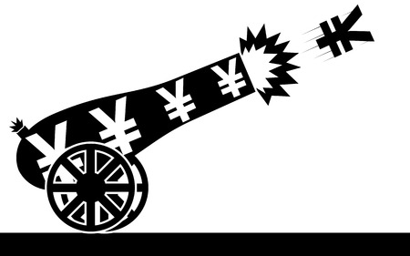 Vector   illustration of a yen sign that is flying from a cannon
