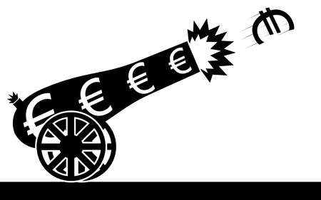 Vector   illustration of a euro sign that is flying from a cannon  Ilustração