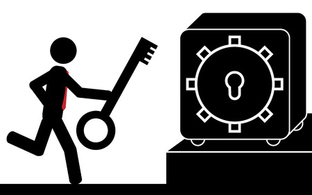 Vector   illustration  A man is running with a key to the safety deposit box Imagens - 29348408