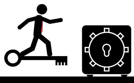 illustration  A man is flying on a key to the safety deposit box  Ilustração