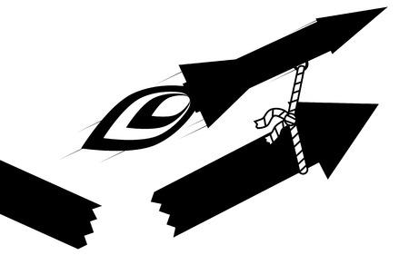 illustration  A rocket pull up a arrow, the arrow has broke  Ilustração