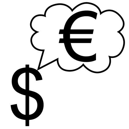 illustration  A dollar sign is dreaming a euro sign  Ilustração