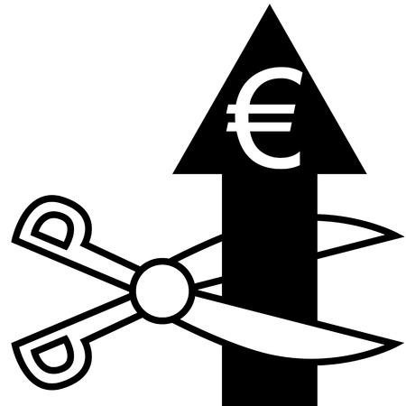 illustration  Cut the euro arrow