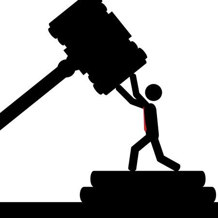 illustration  A man is hit with a court hammer  Ilustração
