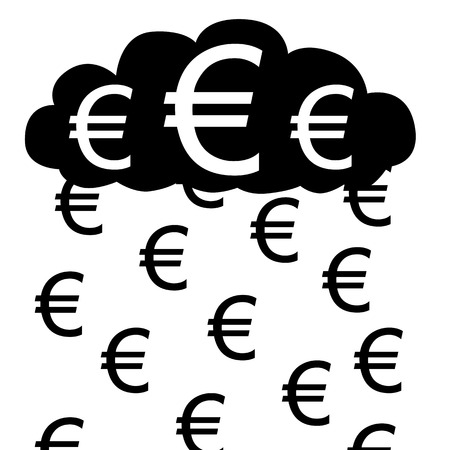 illustration  Raining with euros from euro cloud