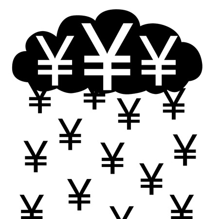 illustration  Raining with yens from yen cloud  Vector