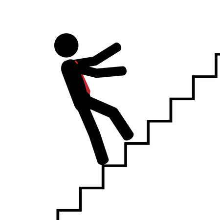 illustration  Man fall on his back on stairs  Vector