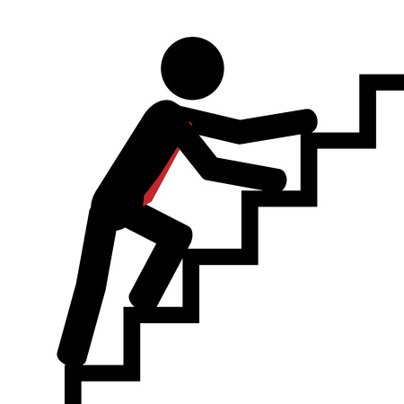 illustration  Man trying to climb the stairs